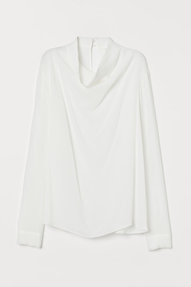 Blouse with a draped collar - Cream - Ladies | H&M