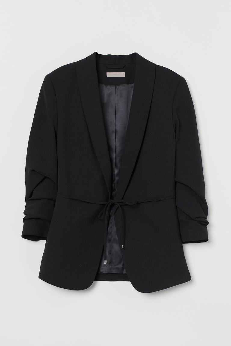 Jacket with gathered sleeves - Black - Ladies | H&M IE