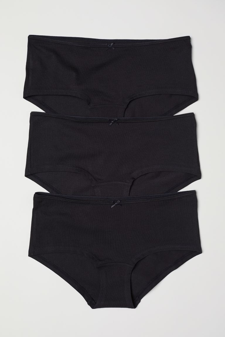 3-pack cotton shortie briefs - Black - Ladies | H&M