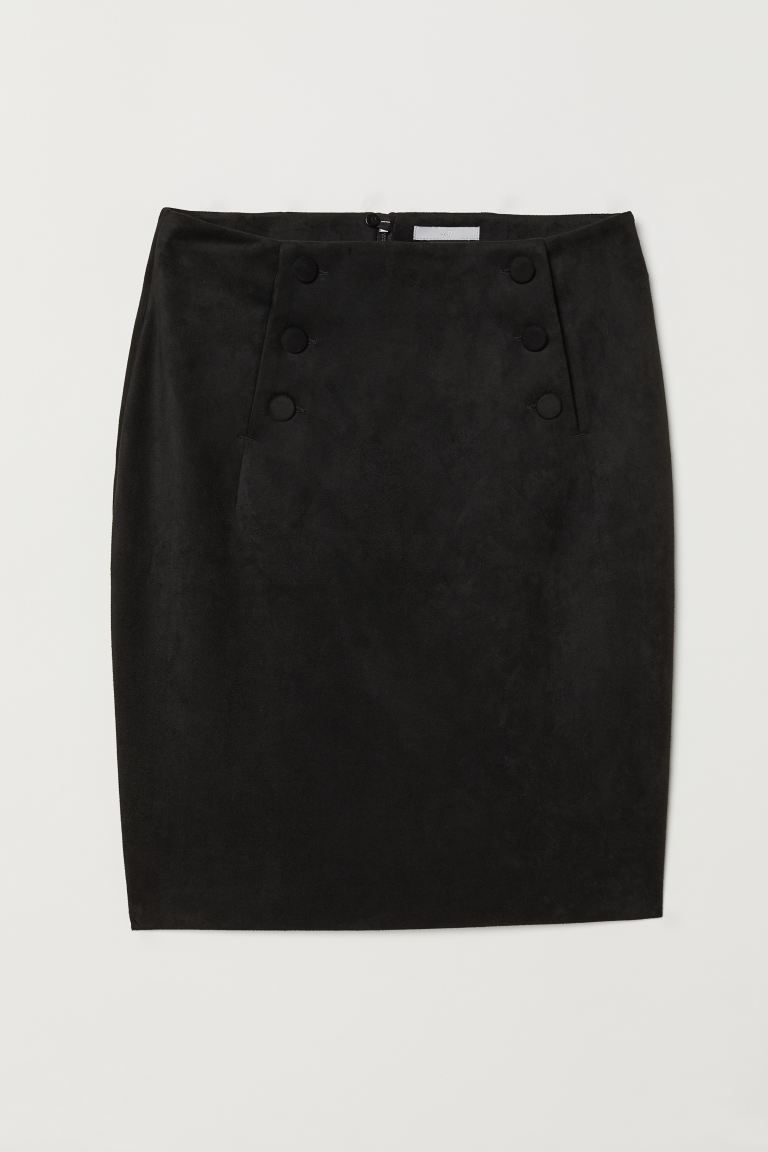 Knee-length skirt - Black/Imitation suede - Ladies | H&M IE