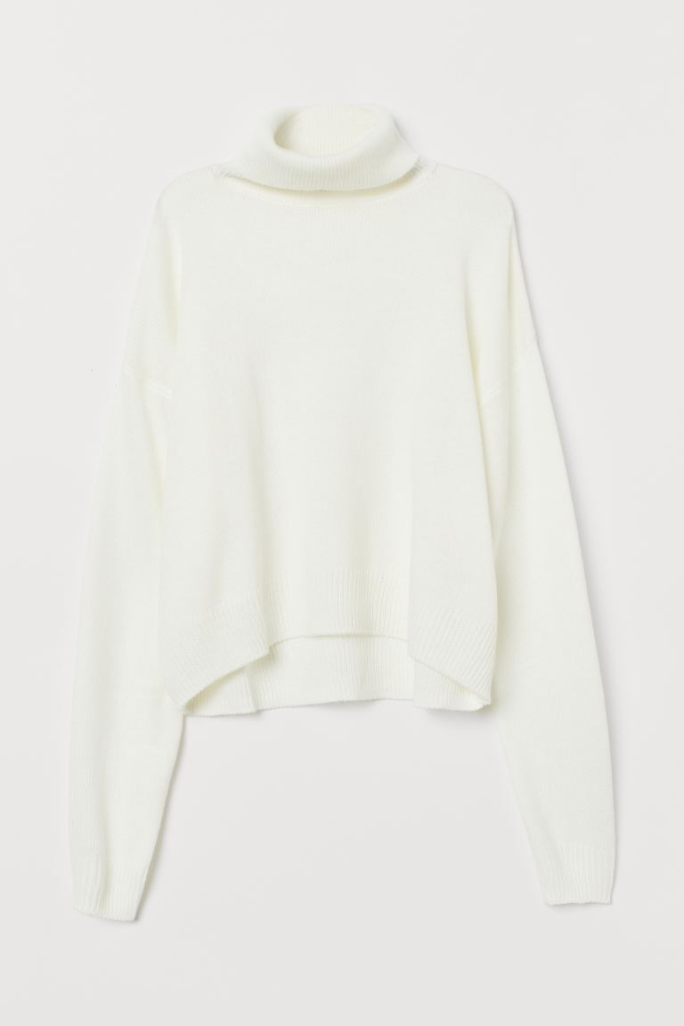 Knitted polo-neck jumper - White - Ladies | H&M IN
