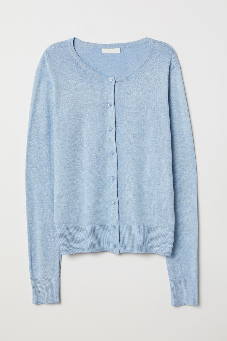 Fine-knit cardigan - Light blue marl - Ladies | H&M IN
