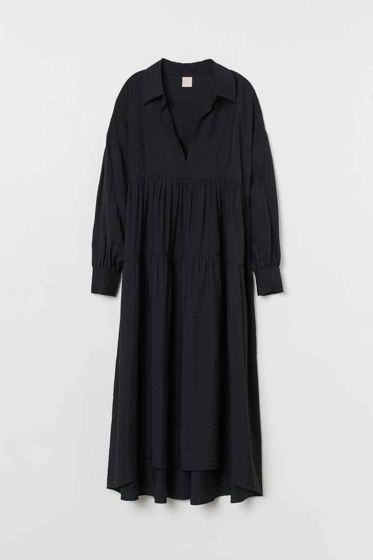 Wide dress with a collar - Black - Ladies | H&M GB