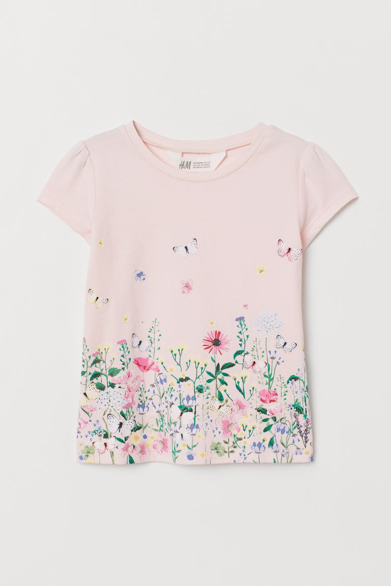 Jersey Top with Printed Design - Light pink/flowers -  | H&M US