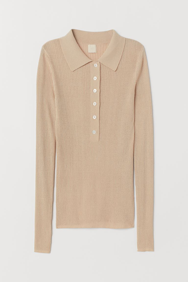 Top with a collar - Beige - Ladies | H&M GB