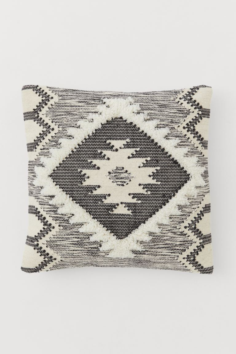 Wool-blend Cushion Cover - Natural white/black - Home All | H&M US