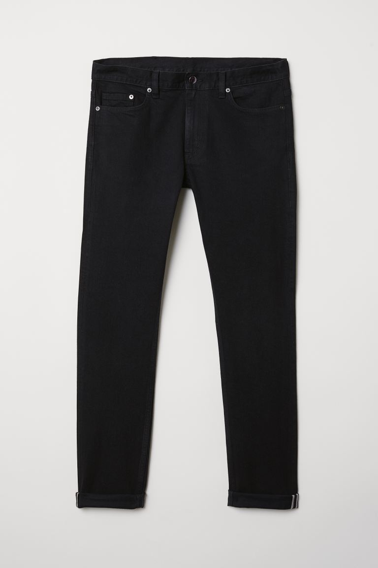 Slim Selvedge Jeans - Black -  | H&M