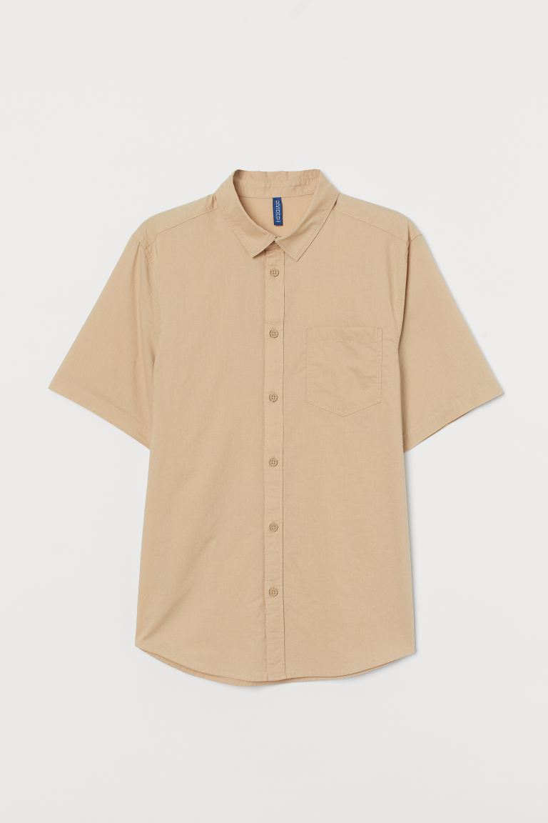 Short-sleeved cotton shirt - Light beige - Men | H&M