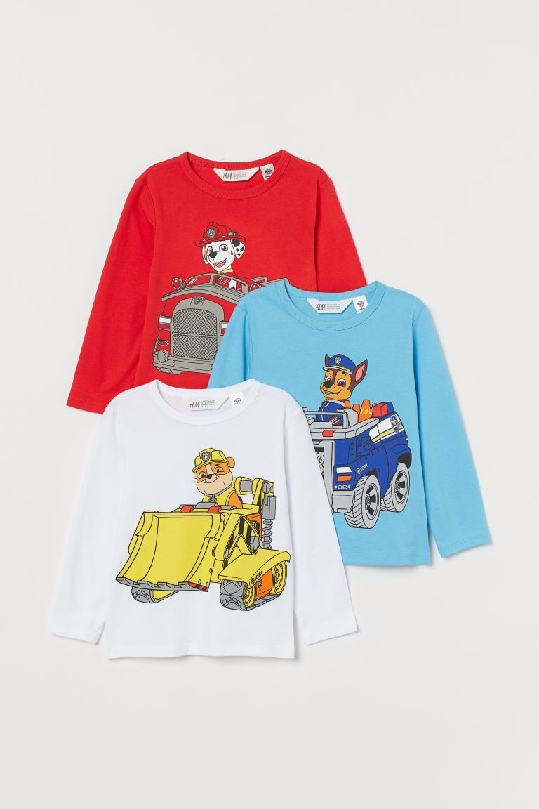 3-pack printed jersey tops - Red/Paw Patrol - Kids | H&M