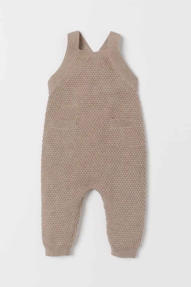 Knitted dungarees - Light beige marl - Kids | H&M