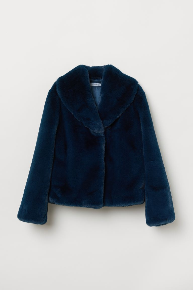 Faux fur jacket - Petrol - Ladies | H&M GB