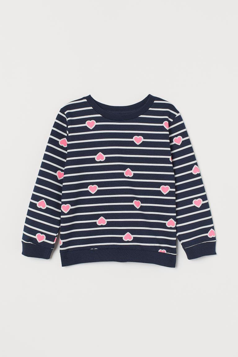 Printed sweatshirt - Dark blue/Hearts - Kids | H&M GB