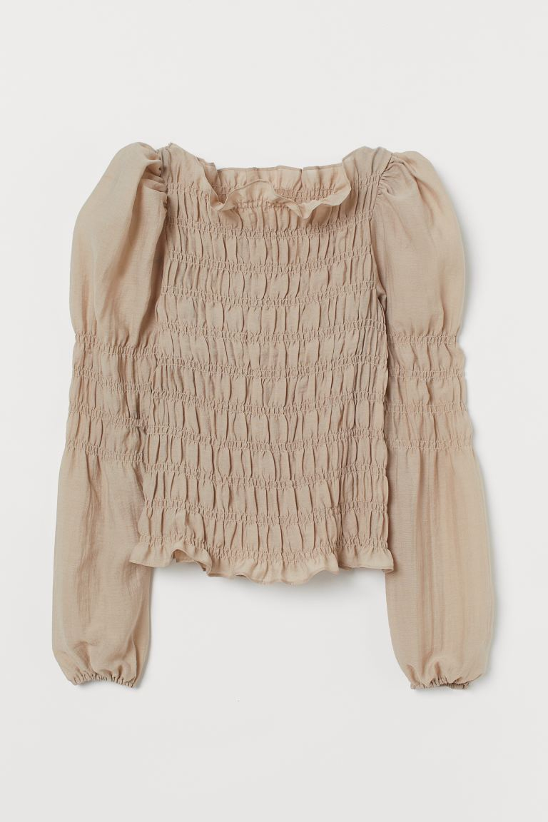 Smocked blouse - Beige - Ladies | H&M GB