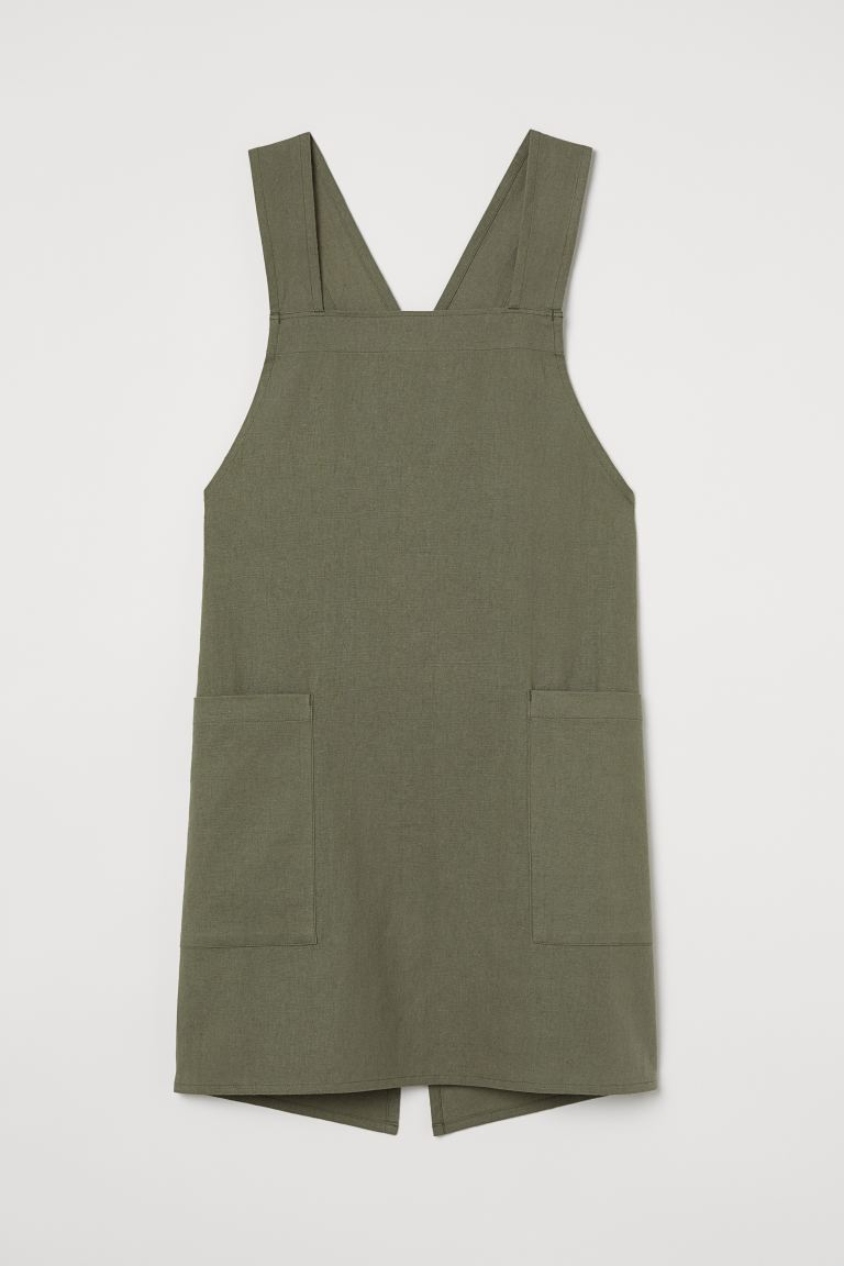 Linen-blend apron - Khaki green - Home All | H&M GB