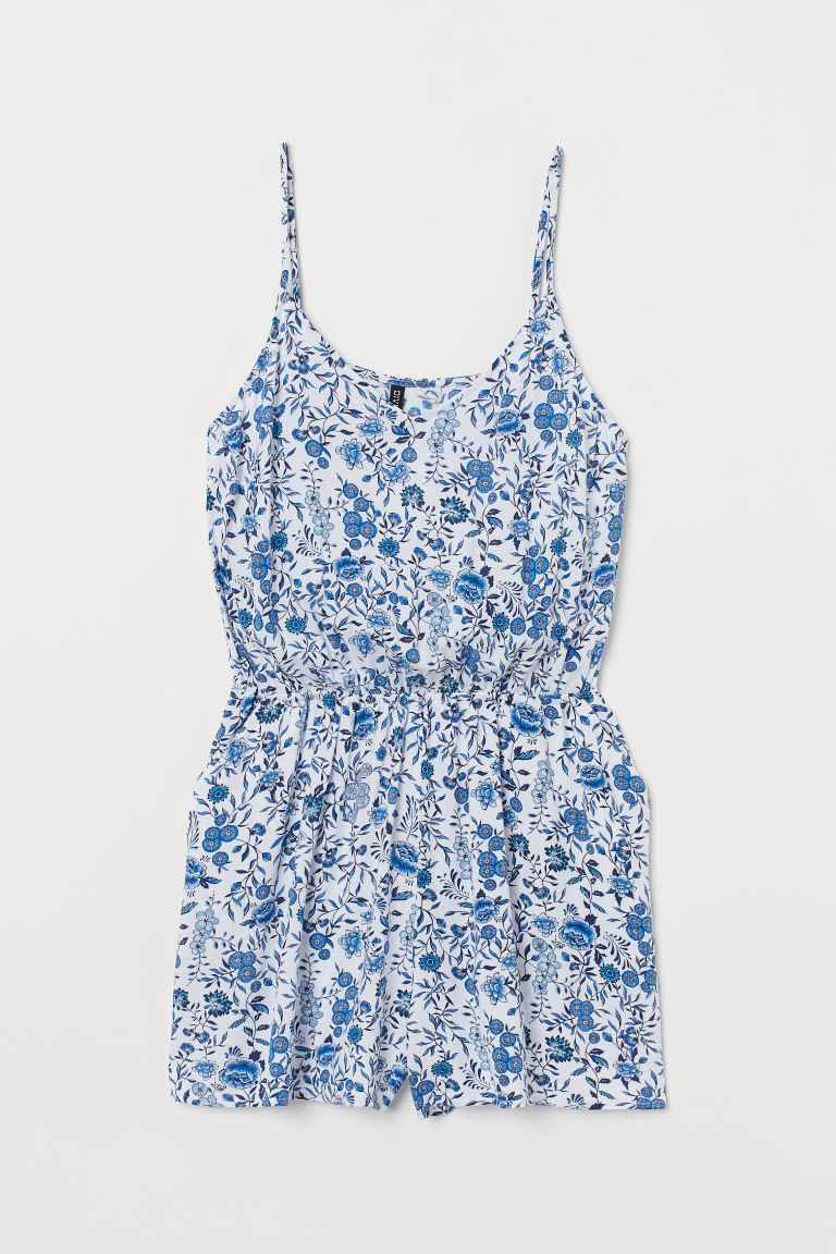H&M+ Jumpsuit - White/blue floral - Ladies | H&M CA