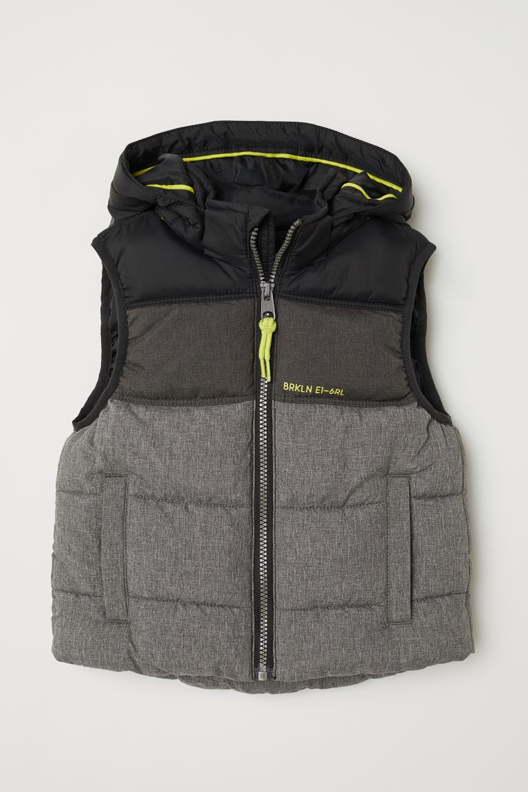 Padded gilet - Dark grey marl/Black - Kids | H&M IN