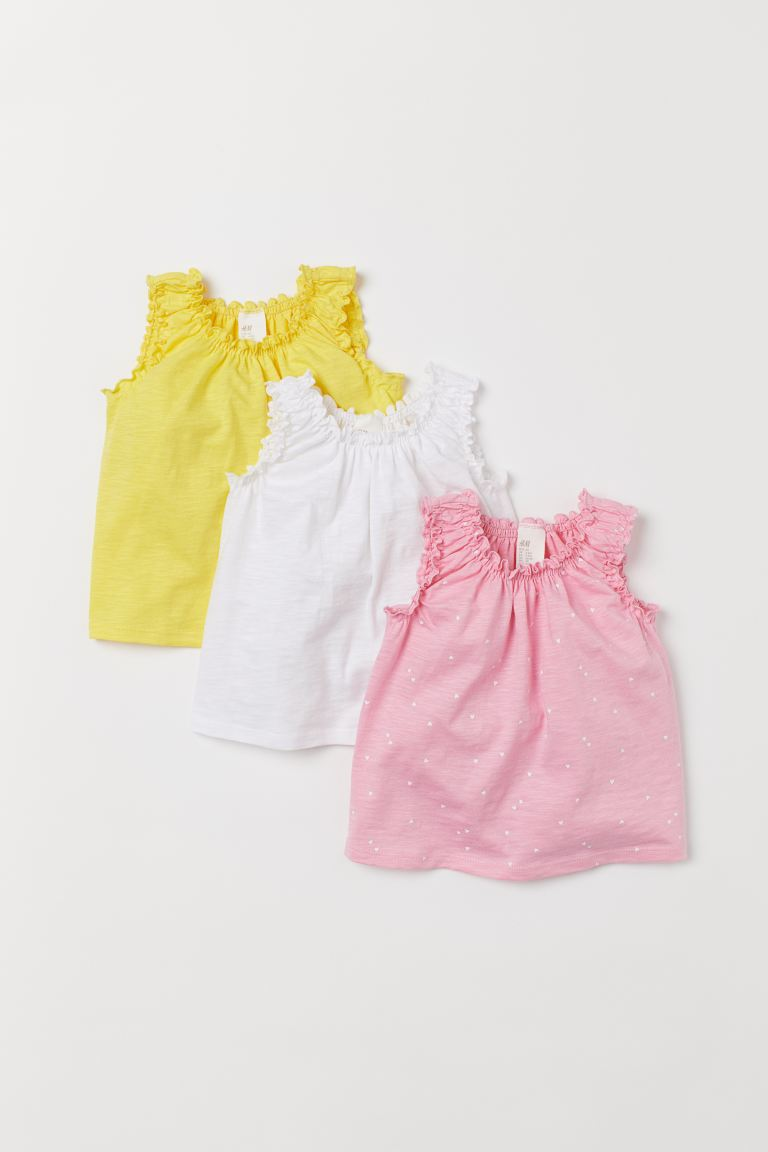3-pack sleeveless tops - Pink/Hearts - Kids | H&M