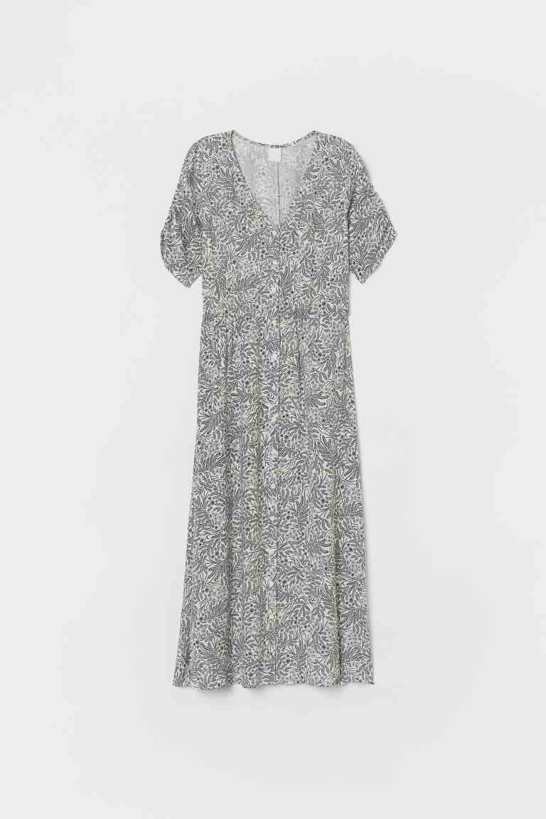Calf-length Dress - White/black floral - Ladies | H&M CA