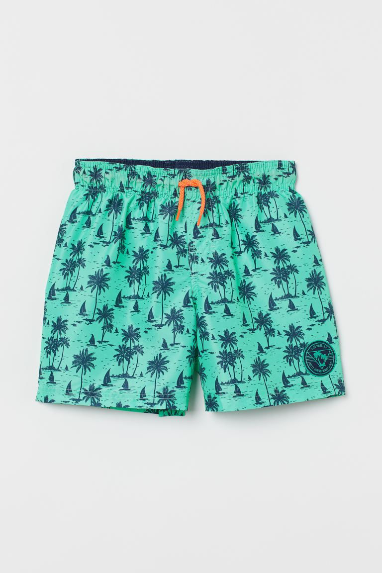 Patterned swim shorts - Green/Palm trees - Kids | H&M