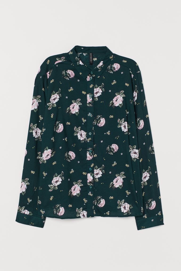 Viscose shirt - Dark green/Floral - Ladies | H&M IN
