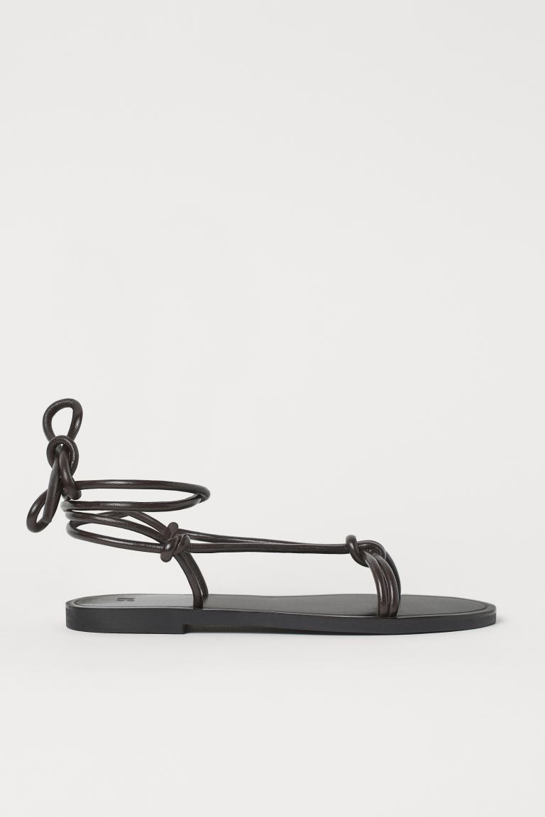Sandalen aus Leder - Dunkelbraun - Ladies | H&M AT