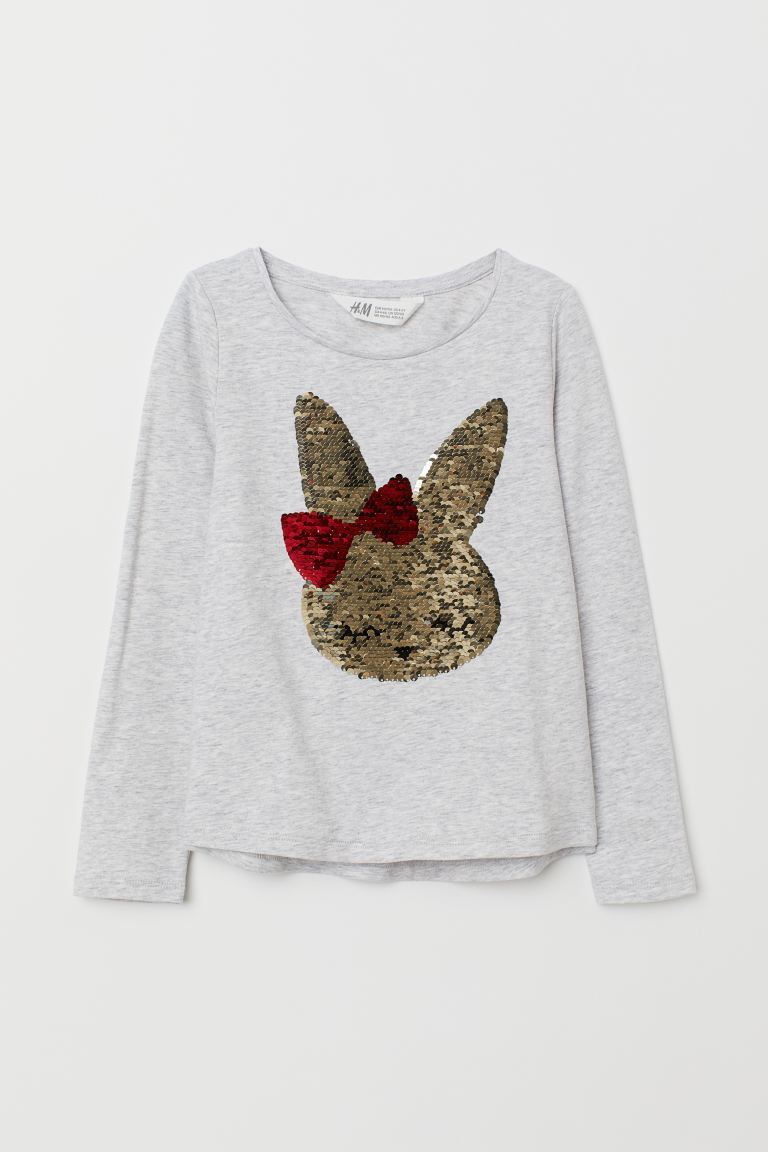 Jersey top with sequined motif - Light grey marl/Rabbit - Kids | H&M GB