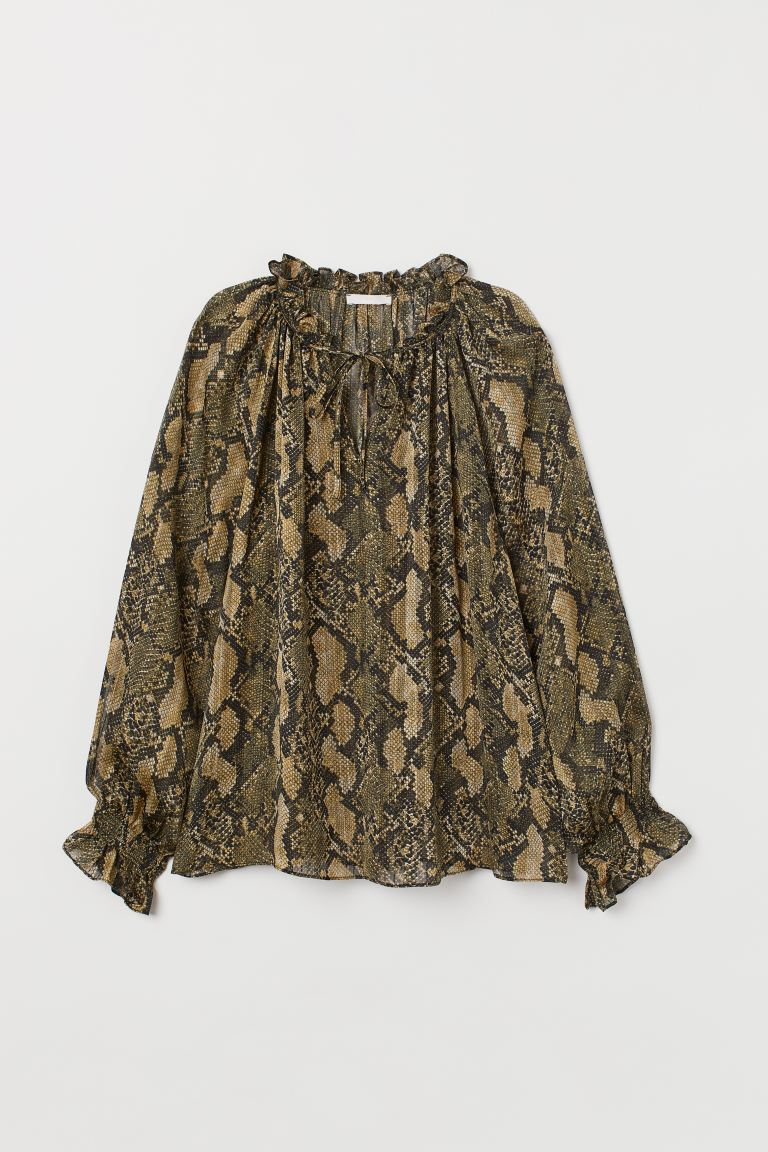 Blouse with ties - Dark green/Snakeskin-patterned - Ladies | H&M GB