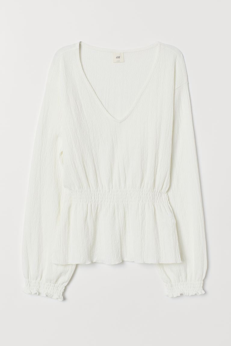 V-neck Top with Smocking - Cream - Ladies | H&M CA
