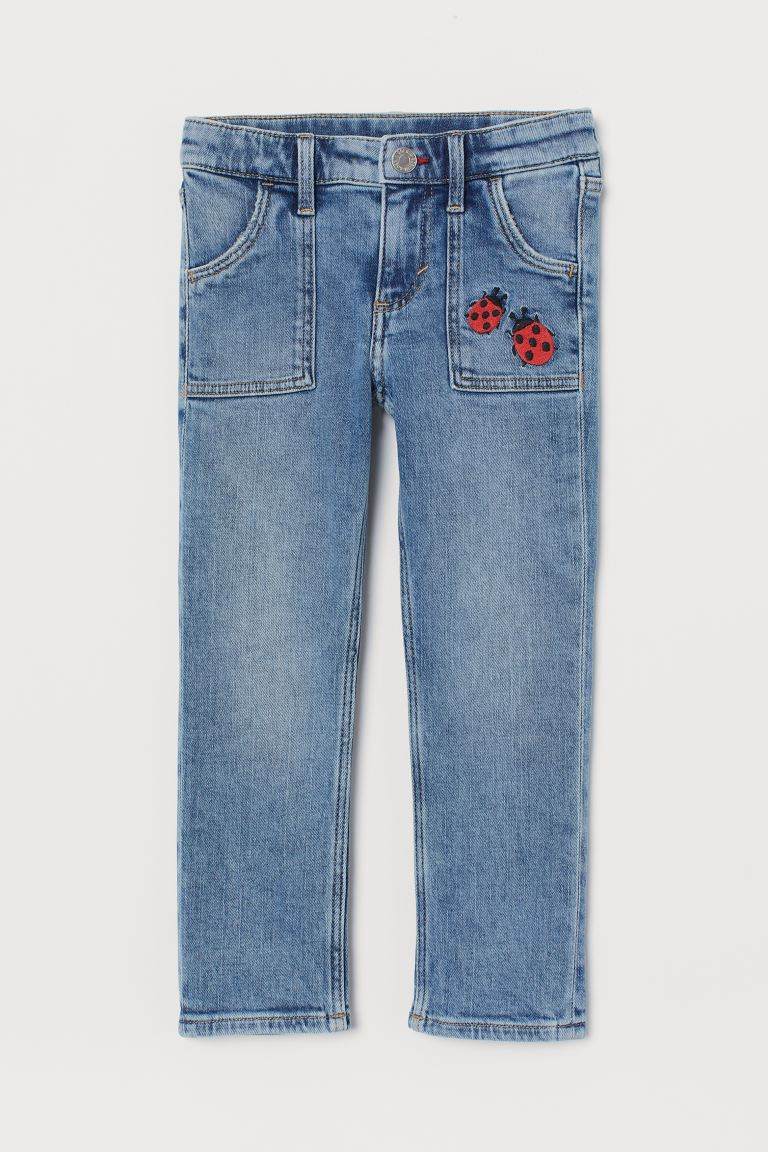 Straight Fit Jeans - Denim blue/Ladybirds -    H&M GB