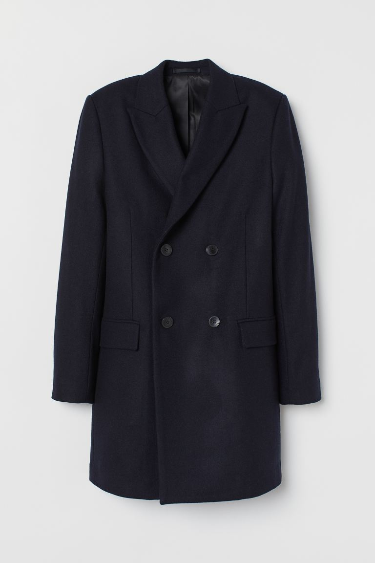 Double-breasted wool-mix coat - Dark blue - Men | H&M GB