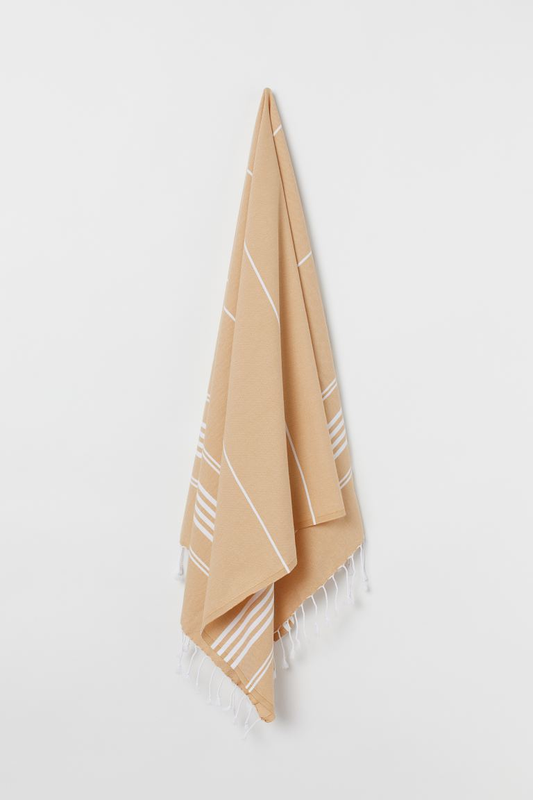 Lightweight Beach Towel - Yellow/striped - Home All | H&M US