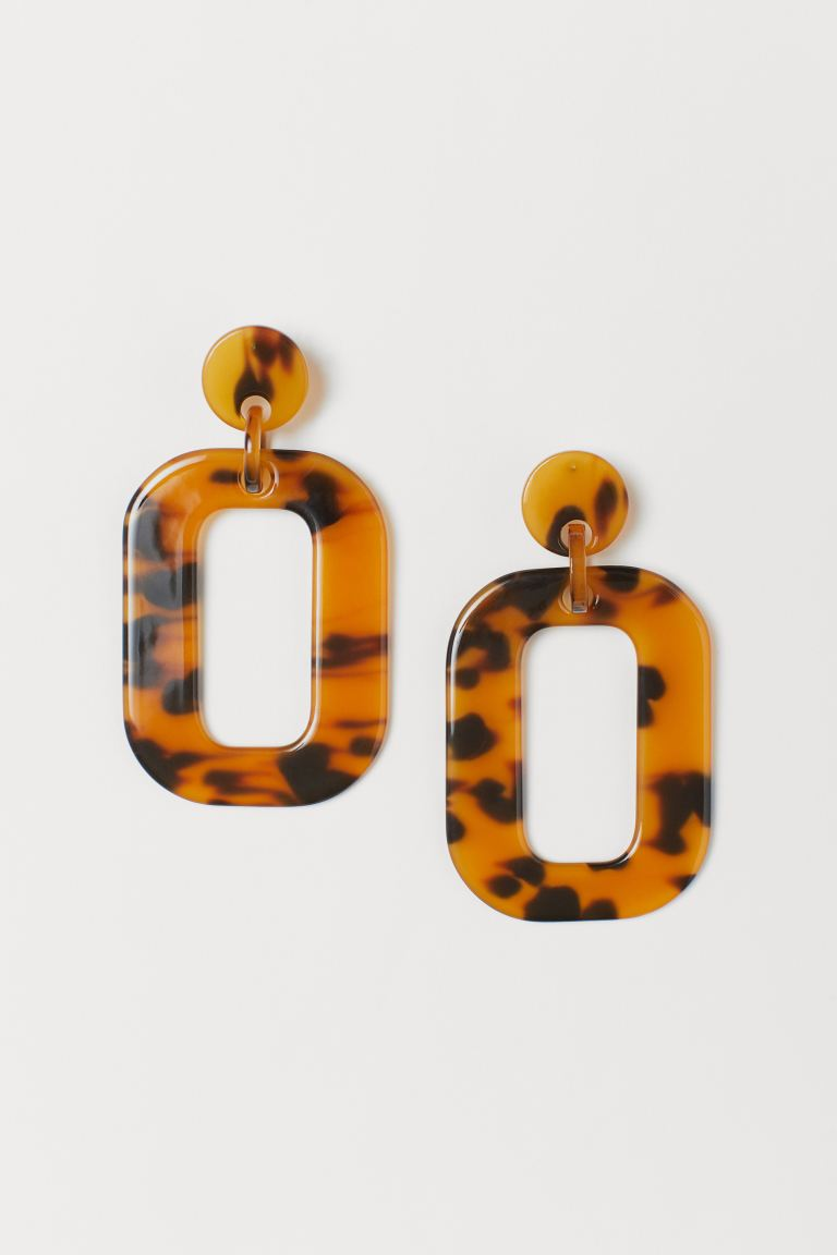 Large Earrings - Brown/tortoiseshell-patterned - Ladies | H&M US