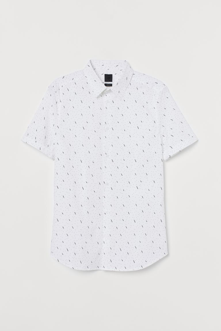 Cotton Shirt Muscle Fit - White/Patterned - Men | H&M GB