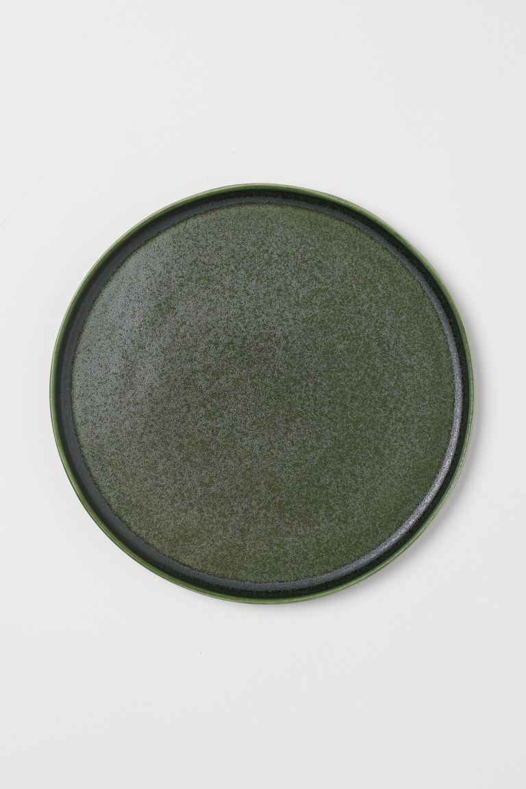 Large stoneware plate - Dark green - Home All | H&M GB