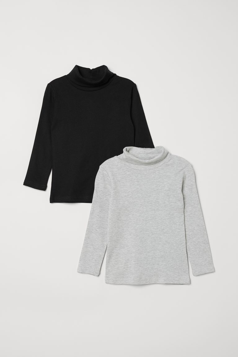 2-pack polo-neck tops - Grey marl - Kids | H&M GB
