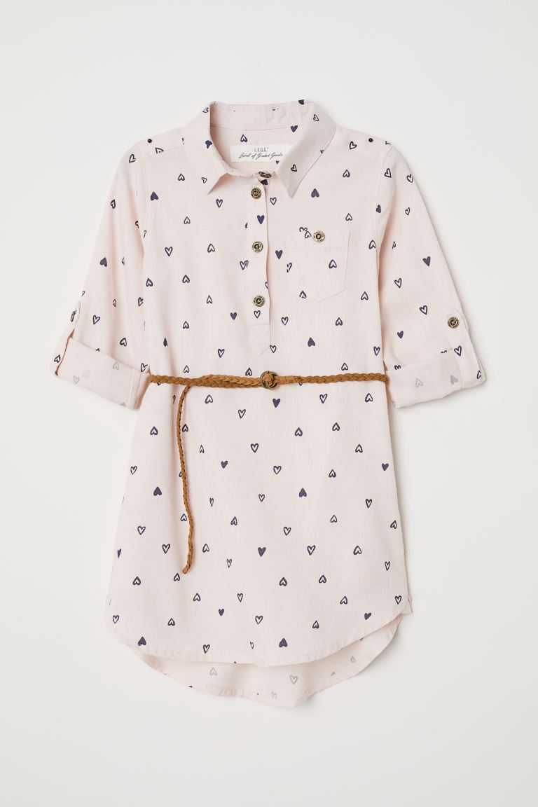 Shirt dress - Old rose/Hearts - Kids | H&M GB