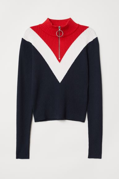 Rib-knit Sweater - Dark blue/color-block - Ladies | H&M CA