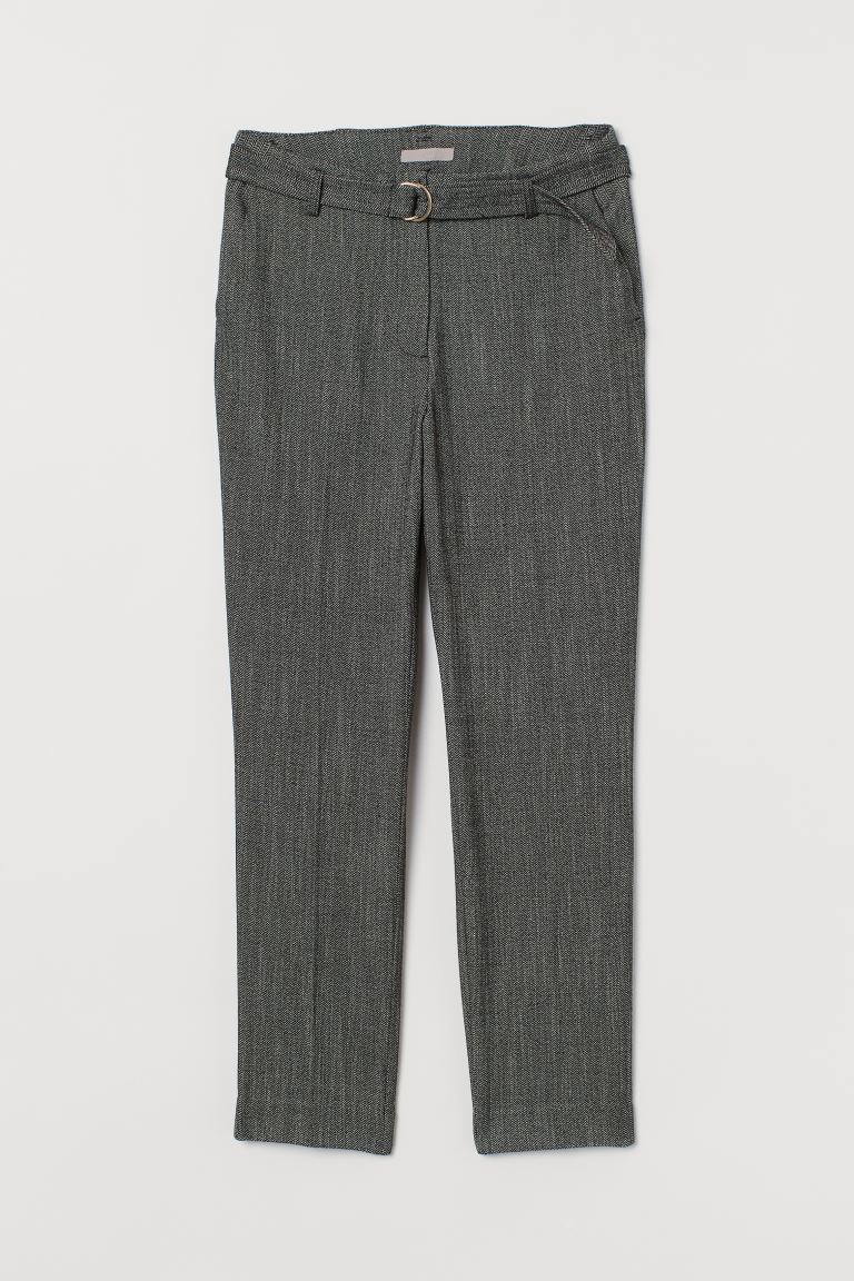 Ankle-length Slacks - Dark gray/herringbone pattern - Ladies | H&M US