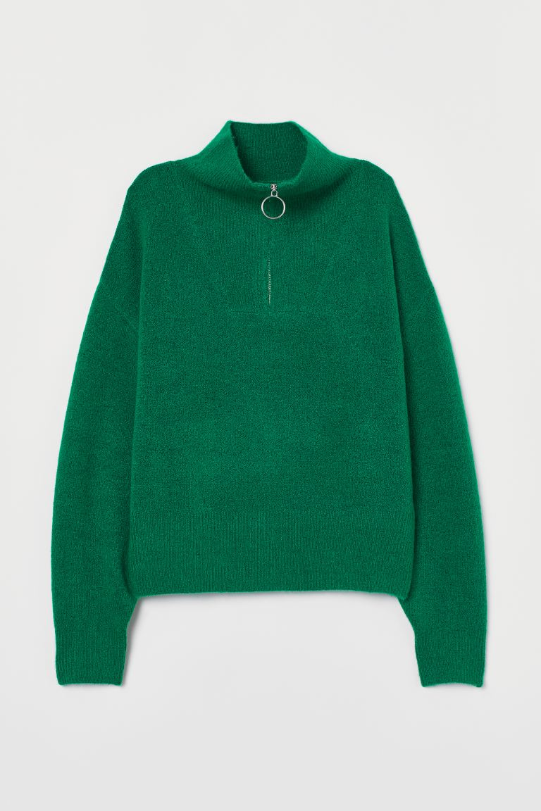 Knitted jumper - Green - Ladies | H&M GB