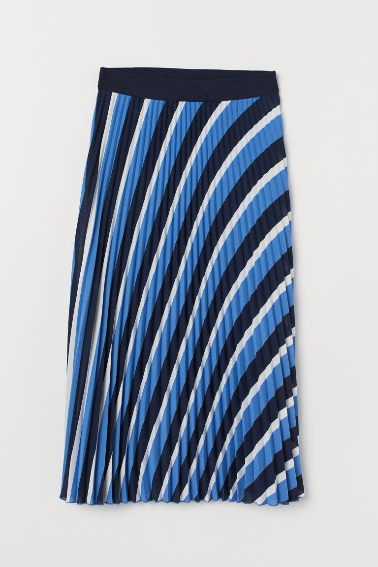 Pleated Skirt - Blue/striped - Ladies | H&M CA