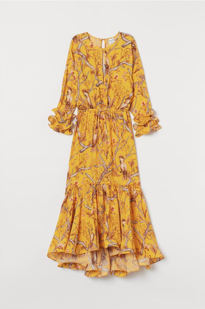 Wonderlijk Maxi-jurk met volants - Donkergeel/orchideeën - DAMES | H&M NL PB-28