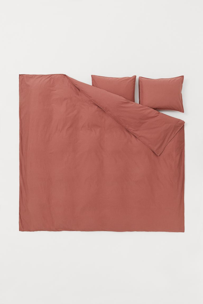 Washed Cotton Duvet Cover Set - Rust red - Home All | H&M US