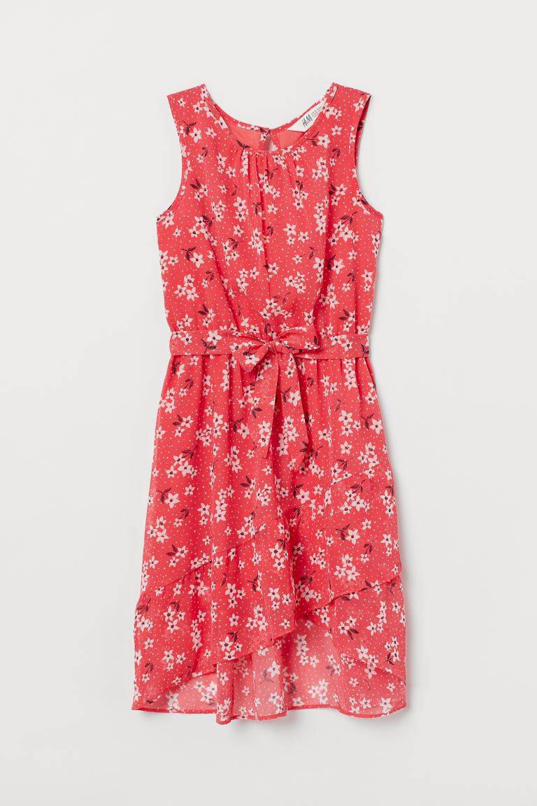 Tie-belt dress - Light red/Floral - Kids | H&M IE