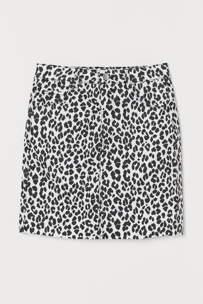 Short denim skirt - White/Leopard print - Ladies | H&M GB