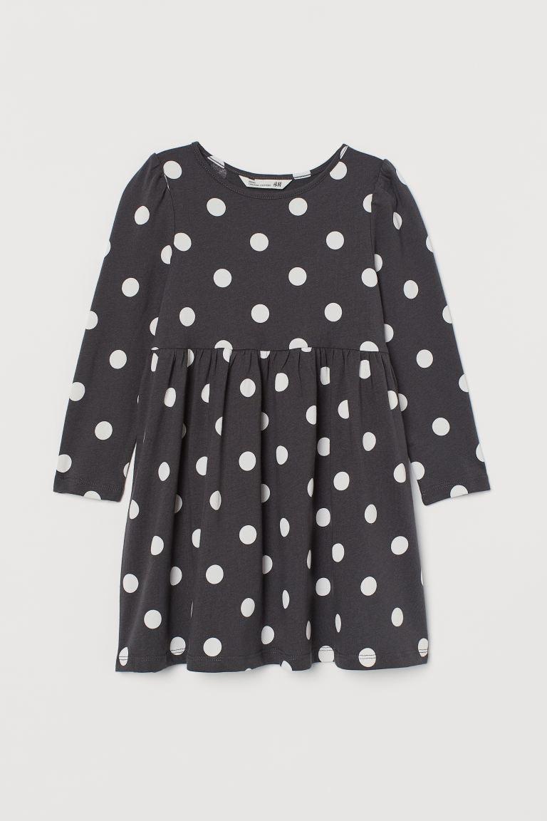 Patterned jersey dress - Dark grey/Spotted - Kids | H&M GB