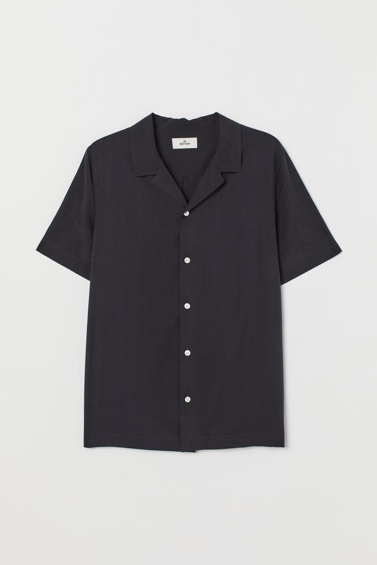 Cupro-blend Resort Shirt - Black - Men | H&M US