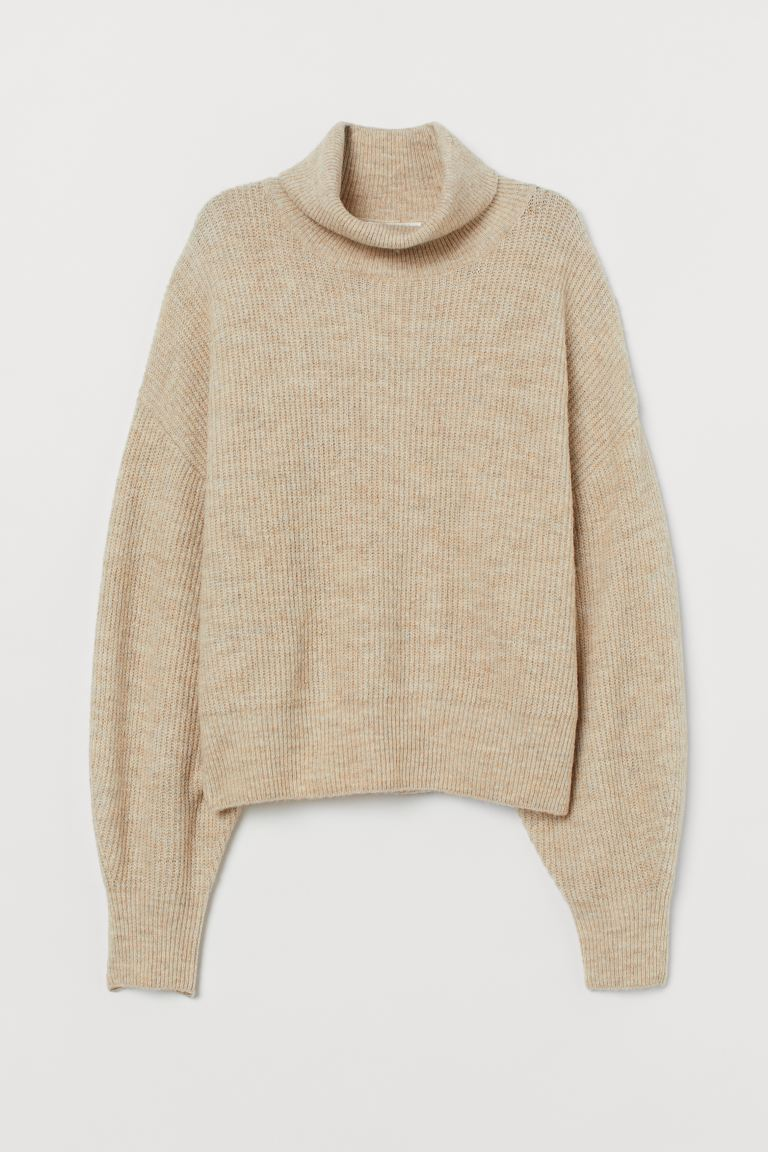 Fine-knit polo-neck jumper - Light beige marl - Ladies | H&M