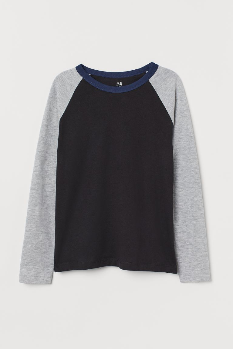 Jersey top - Black/Grey marl - Kids | H&M