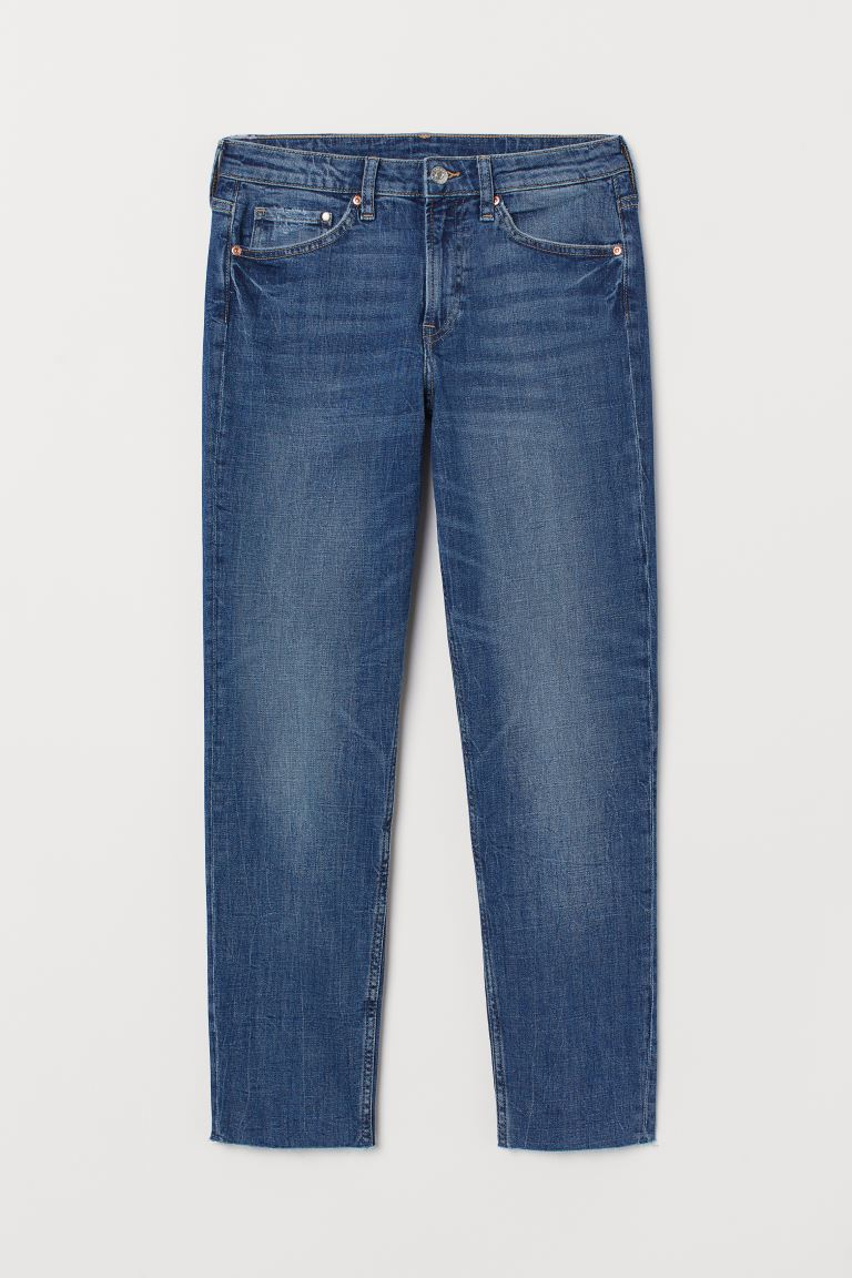 Girlfriend Regular Ankle Jeans - Blue - Ladies | H&M GB