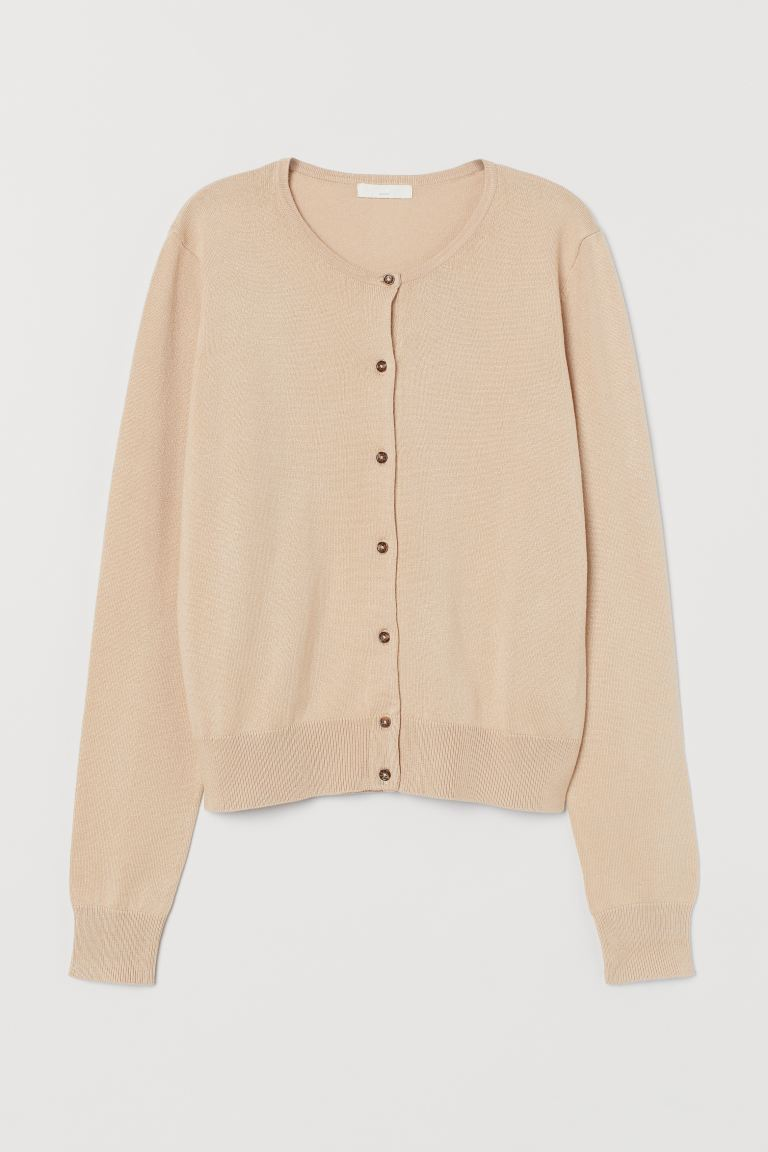 Fine-knit cardigan - Light beige - Ladies | H&M IN